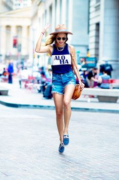 Printed tank, jean cutoffs and lace-up espadrilles