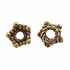 Antique Gold Pewter 7mm Roped Bead Cap