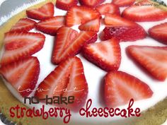 Low Fat No-Bake Strawberry Cheesecake from sixsistersstuff.com.  The perfect way to enjoy your last few weeks of summer! #recipes #lowfat #dessert