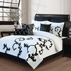 Girls Black White Vine Comforter King Set Floral Themed Bedding Scroll Motif Modern Stylish Flower Scrollwork Design Pattern Damask Cotton