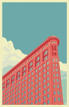 Flatiron Building New York City - A gallery-quality illustration art print by Remko Gap Heemskerk for sale. Flatiron Building, Free Illustration, Building Illustration, Graphic Design Illustration, Wallpaper Paisajes, City Poster, Graphisches Design, Modelos 3d, Kunst Poster
