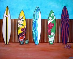 Surfboards Summer Surfing Painting Art by prisarts