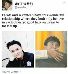 I love the relationship between carats and seventeen