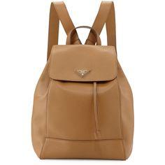 Prada Vitello Daino Backpack (14.955 NOK) ❤ liked on Polyvore featuring bags, backpacks, caramel, flap bag, triangle bag, backpacks bags, rucksack bag and drawstring backpack bags