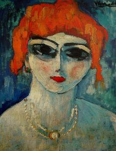 alongtimealone:  Vlaminck, Maurice de (French, 1876-1958) - Portrait of a Woman - s.d. (by *Huismus)