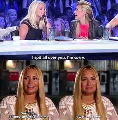 Demi talking about how Briney Spears spit on her
