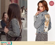 Aria's denim jacket with tiger graphic on Pretty Little Liars.  Outfit Details: http://wornontv.net/36412/ #PLL