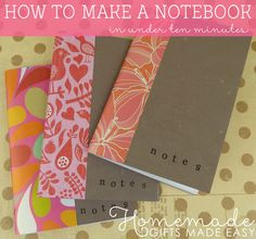 How to make a notebook out of a blank card or recycled cardboard. Quick to assemble and a great last minute homemade gift idea!