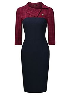 £19.99 & Free Returns  MIUSOL Women's Vintage Asymmetric Collar 3/4 Sleeve Contrast Pencil Work Dress Blue Size Small/UK 8