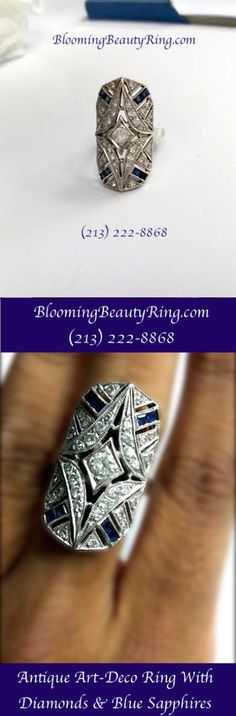 A very cool antique Art-Deco Ring with Diamonds and Blue sapphires  http://www.BloomingBeautyRing.com  (213) 222-8868