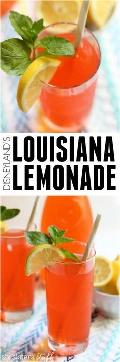 Louisiana Lemonade Copycat recipe on Six Sisters' Stuff | This copycat of Disneyland's Louisiana Lemonade is the perfect summer drink. Classic lemonade with sprite, mango, and raspberry flavor make it a drink you'll want to make again and again and again!