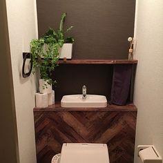 Bathroom,ヘリンボーン,タンクレス風,ディヒューザー,DIY,100均,ダイソー,観葉植物,ダイソーリメイクシート,タニワタリ,アイビー,タンクレス,リメイクシート,賃貸 MIMURAの部屋