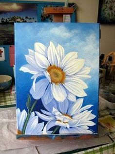 Flower art projects for kids simple canvases ideas Daisy Painting, Acrylic Painting Flowers, Simple Acrylic Paintings, Acrylic Painting For Beginners, Beginner Painting, Acrylic Painting Canvas, Canvas Art, Painting Art, Canvas Ideas