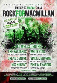 ROCK FOR MACMILLAN - THE BASTARDS - WHITESTAR - DREAD CENTRE - VINCE LIGHTNING #BromleyLabourClub #posters #poster #club #concert #music #illustration #art #event