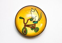 Cute TRICYCLE MAGNET  Cat tricycle bike yellow by boygirlparty