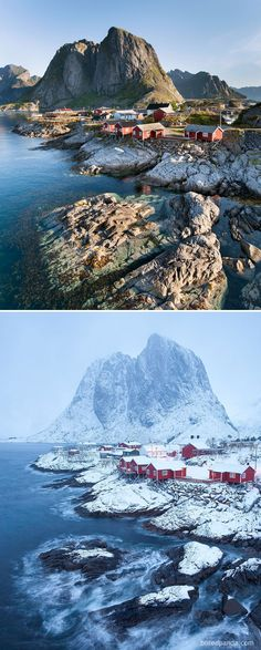 10 Before and After Photos of Winter's Beautiful Transformations ... Hamnøy, Norway