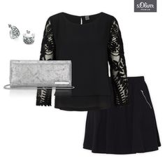 Check out 1 clutch - 3 styles #skirt #combination #blackandsilver