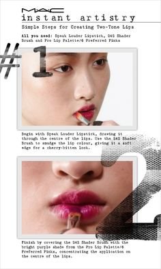 Senior Artist Nicole Thompson gives lips some creative colour play, with a popping two-
