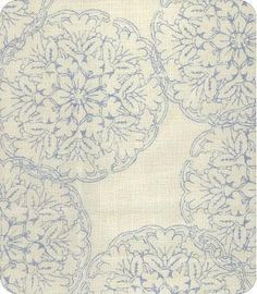 John Robshaw Light Blue and Ivory Curtain Panel / Custom Designer Drapery