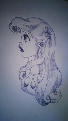 sharpie drawing of Ariel from Little Mermaid