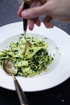 kale pesto paparadelle with toasted pine nuts