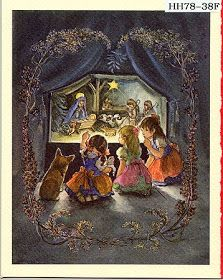 Pictured here, three little girls and a 'Corgi' look at a sweet manger scene. Classic Tasha Tudor illustration for the Irene Dash Greeting Card Company, New York Noel Christmas, Vintage Christmas Cards, Christmas Pictures, Vintage Cards, Christmas Scenes, Christmas Illustration, Children's Book Illustration, Illustration Children, Old Fashioned Christmas