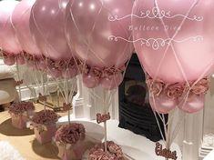 new Ideas for bridal shower balloons centerpieces themed parties Hot Air Balloon Centerpieces, Balloon Decorations Party, Centerpiece Decorations, Birthday Party Decorations, Wedding Decorations, Birthday Parties, Party Themes, Ideas Party, Shower Centerpieces