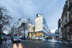 Construido por LAPS Architecture,MAB Arquitectura en Paris, France con fecha 2014. Imagenes por Luc Boegly. Una apertura en París y una pieza clave para la comunidad.  El edificio de uso mixto, con 30 unidades de vivienda par...