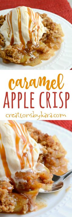 This Caramel Apple Crisp recipe is extra decadent and delicious. Served with a scoop of vanilla ice cream, it is the best kind of comfort food!