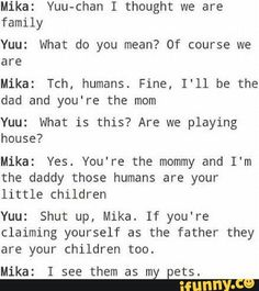 Mika and Yuu, cute, funny, text