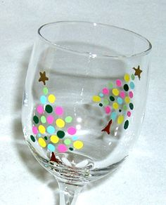 Christmas Tree Wine Glass Hand Painted by ConniesCreations2010, $10.00