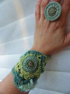 Moss Freeform Crochet Bracelet | Flickr - Photo Sharing!