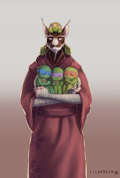 Splinter and sons TMNT. (Quite adorable, but I'll save you my usual spiel. Ninja Turtles Art, Teenage Mutant Ninja Turtles, Turtle Tots, Arte Do Harry Potter, Arte Ninja, Tmnt 2012, Fan Art, Manga, Poster