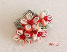 花芯が珊瑚の髪飾り*着物 袴 和装に*卒園式 卒業式 入園式 入学式〈つまみ細工〉赤