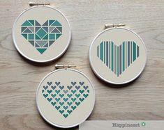 geometric modern cross stitch pattern heart, set of valentine hearts, PDF pattern ** instant down Cross Stitching, Cross Stitch Embroidery, Embroidery Patterns, Hand Embroidery, Embroidery Hoops, Creative Embroidery, Crochet Patterns, Geometric Heart, Cross Stitch Heart