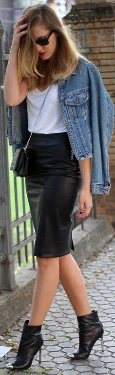 Back To #black by Dear Diary Leather + Denim = Perfect Comb!! The pencil skirt is a must this season!!