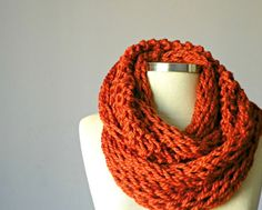Knitted Cowl Scarf Neck Warmer Terracotta Handmade by yarnisland, $20.00