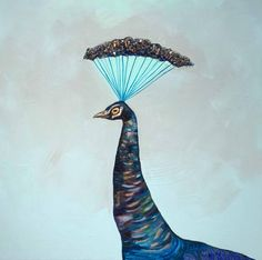 Crowned Peacock - Oil Painting