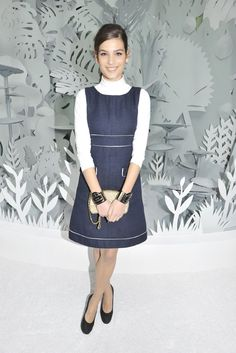 Alma Jodorowski at Chanel Couture Jan 2015 wearing a Chanel spring 2015 (Boulevard Chanel) dress