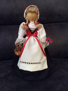 "Traditional Norwegian Straw Doll 13"" Tall Black Dress Apron Corset Norway Flag | eBay"