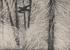 Świerki z ośnieżonymi suchymi gałązkam z przelatującym krukiem - Leon Wyczółkowski