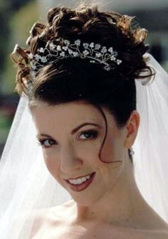 Wedding hair - like the placement of the veil and tiara/ headband, but needs curl all over. 15 Curly Wedding Hairstyles To Inspire You #118347 WooHair.com