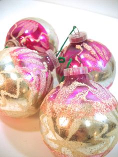 Vintage Glass Ornaments Hot Pink Fuscia West by wallstantiques, $7.99