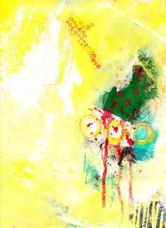 """8-3, Acrylic, crayon and collage on paper, 9"""" x 12"""", from lesson 8 - Busy, then Mostly Quiet, Jane Davies course 100 Drawings on Cheap Paper.  One of those where my idea of """"Quiet"""" (bright yellow) didn't exactly comply with the lesson plan."""