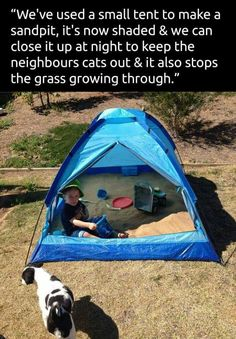 Tent sandbox. Contains sand with enough room for kids to sit inside. Shaded. Zip at night to keep bugs and cats out. No grass can grow through and prevents grass from growing under it. This is genius!