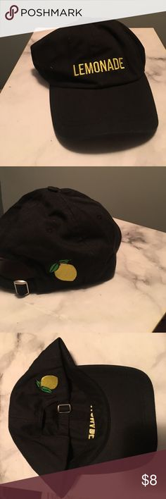 Brand new baseball cap Brand new baseball cap made of black cotton material has the word LEMONADE embroidered on it in yellow thread - the back side has a lemon 🍋 fruit embroidered on the right back side Urban Outfitters Accessories Hats