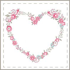 It's all about Hearts ♡ Heart Illustration, Shabby, Borders And Frames, Floral Border, Flower Frame, Vintage Flowers, Flower Patterns, Embroidery Patterns, Heart Shapes