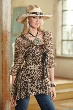 I would wear this  animal print top, just wish hats looked that good on me!