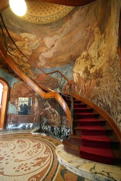 Art Nouveau style staircase with (I believe) a fresco wall at the Hôtel Hannon, Brussels, Belgium - Architect: Jules Brunfaut (Belgian, Architecture Art Nouveau, Art Et Architecture, Beautiful Architecture, Architecture Details, Design Art Nouveau, Art Nouveau Interior, Grand Staircase, Staircase Design, Fresco