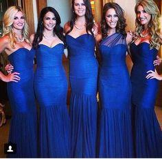 Royal Blue Mermaid Custom Made Bridesmaid Dresses,Glamorous dress,Fishtail dress